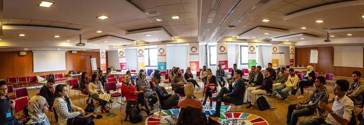 SDG Camps all Tunisia PNUD meetings teens between 14 years and 29 years and mentors of age minimum of 25 years
